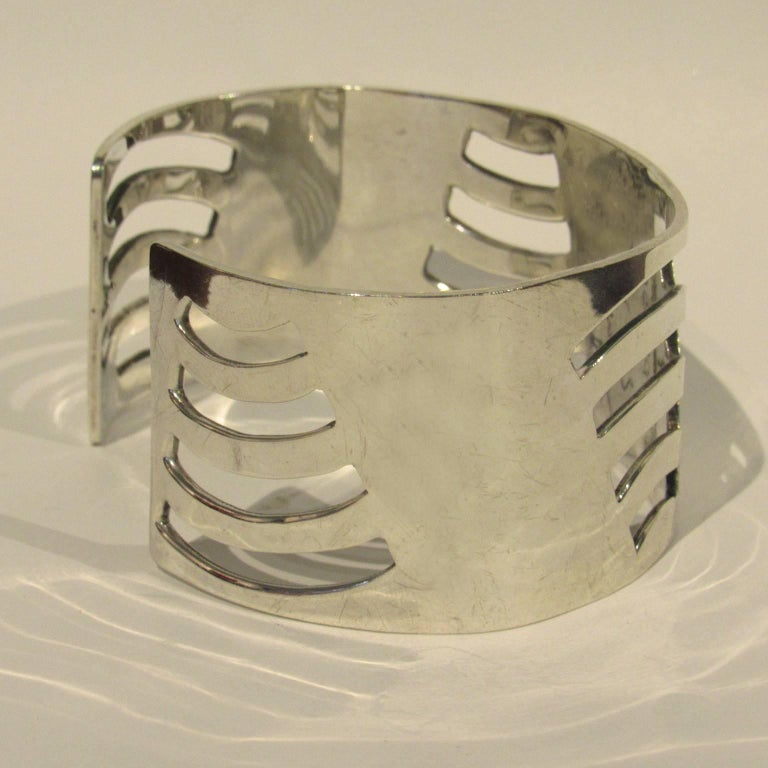20th Century Mid-Century Modern Mexican Sterling Silver Cuff For Sale