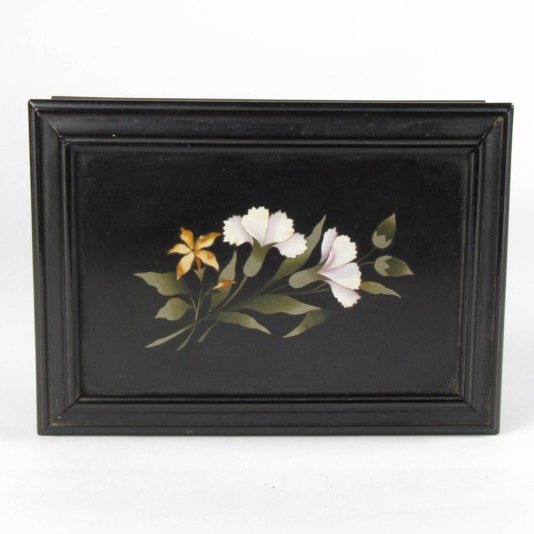 19th Century Antique 19th century Pietra Dura Ebonized Trinket Box For Sale
