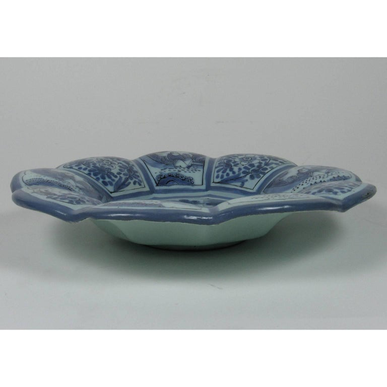 18th Century and Earlier 18th Century German or Dutch Blue and White Tin Glazed Earthenware Lobed Bowl For Sale