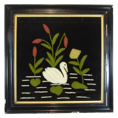 Antique Folk Art Swan Felted Wool Work Picture