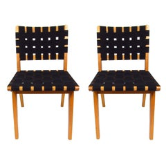 Pair of Mid-Century Modern Jen Rinsom Birch and Webbed Fabric Side Chairs