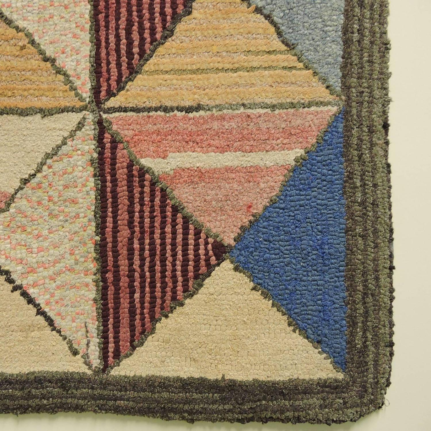 Exceptionally graphic and colorful vintage geometric hook for Colorful rugs for sale