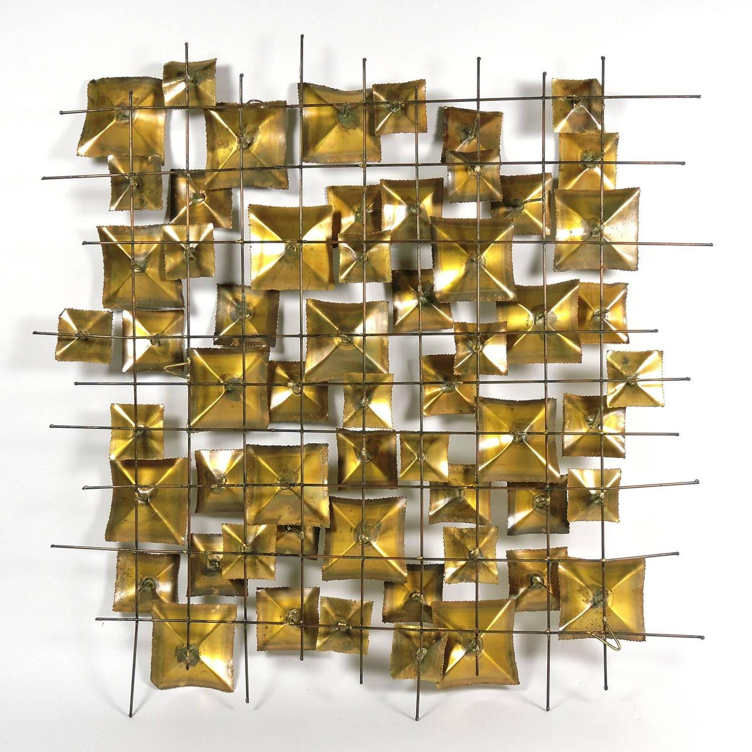 Geometric Metal Wall Decor : Mid century brutalist geometric brass and metal wall