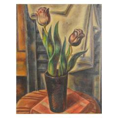 20th Century Umberto Romano Still Life of Tulips Oil on Board