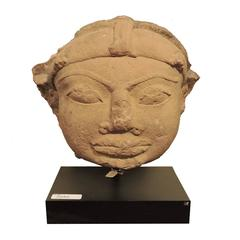 Massive South Indian Carved Stone Head of Buddha 13th-14th Century