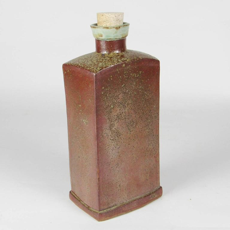 Unusual American Arts and Crafts Glazed Ceramic Flask In Excellent Condition For Sale In Concord, MA