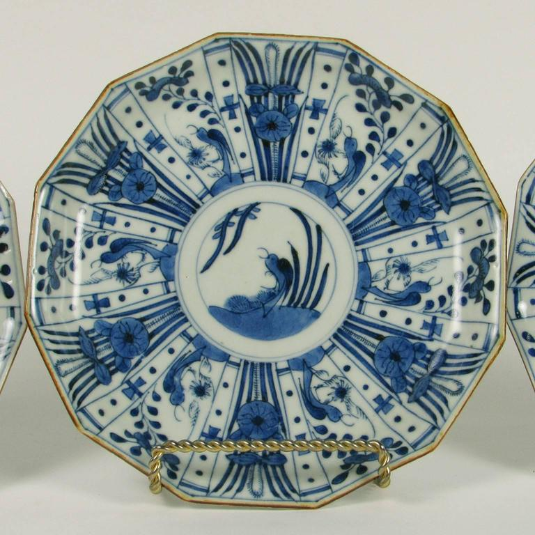 Set of six rare Japanese Ko-Imari blue and white porcelain plates late 19th : blue and white plate set - pezcame.com