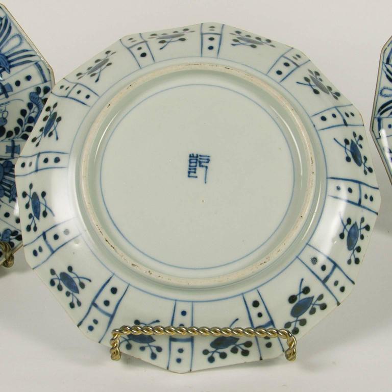 Glazed Set of Six Rare Japanese Ko-Imari Blue and White Porcelain Plates For Sale