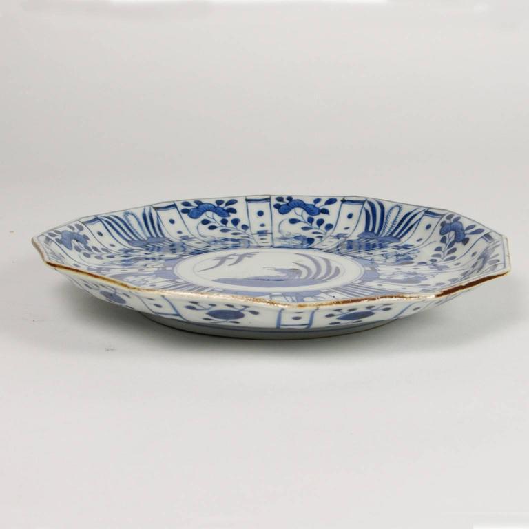19th Century Set of Six Rare Japanese Ko-Imari Blue and White Porcelain Plates For Sale