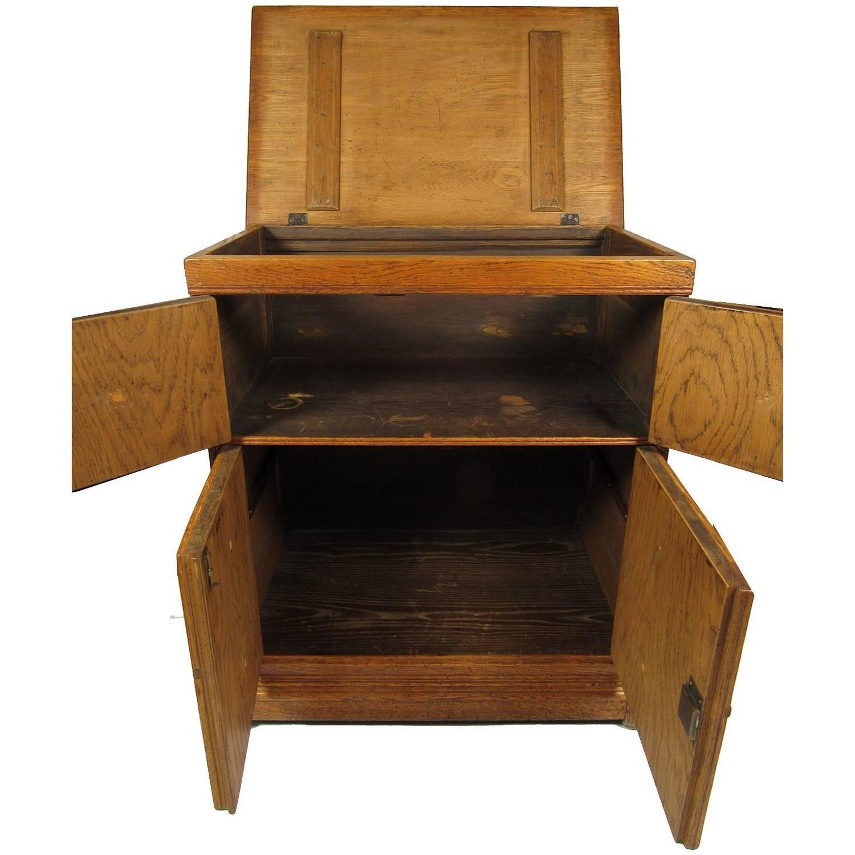 Oak Kitchen Cabinet Handles: Antique Carved Oak Lift Top Cabinet Chest With Original