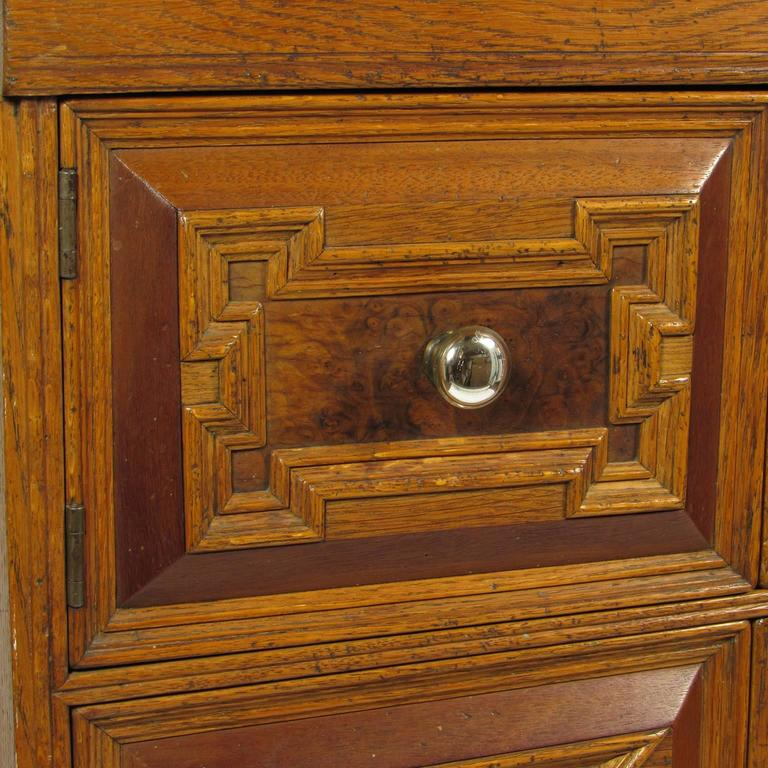 Antique Carved Oak Lift Top Cabinet Chest With Original