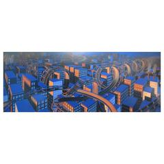 "Wade Zahares ""City at Night"" Framed Pastel"