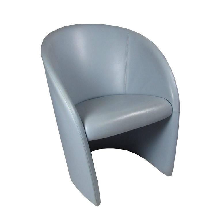 Intervista Poltrona Frau.Pair Of Italian Poltrona Frau Intervista Blue Leather Chairs