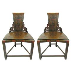 Pair of Antique Chinese Lacquered Side Chairs, Circa 1900