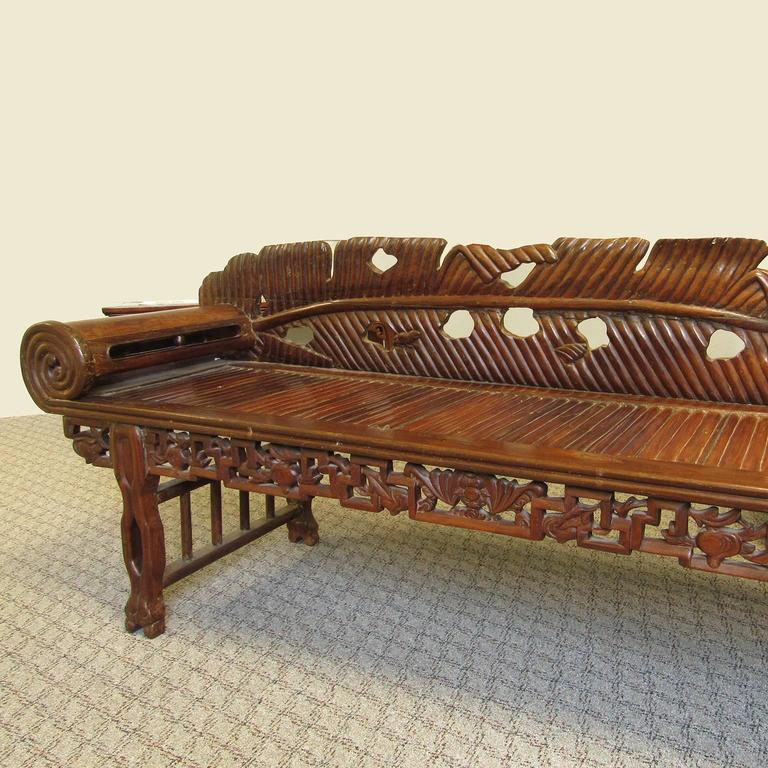 hardwood bedroom furniture antique asian carved hardwood scroll arm chaise 11772