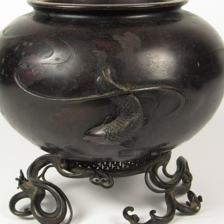 19th Century Japanese Bronze Censor with Koi and Water Design In Good Condition For Sale In Concord, MA