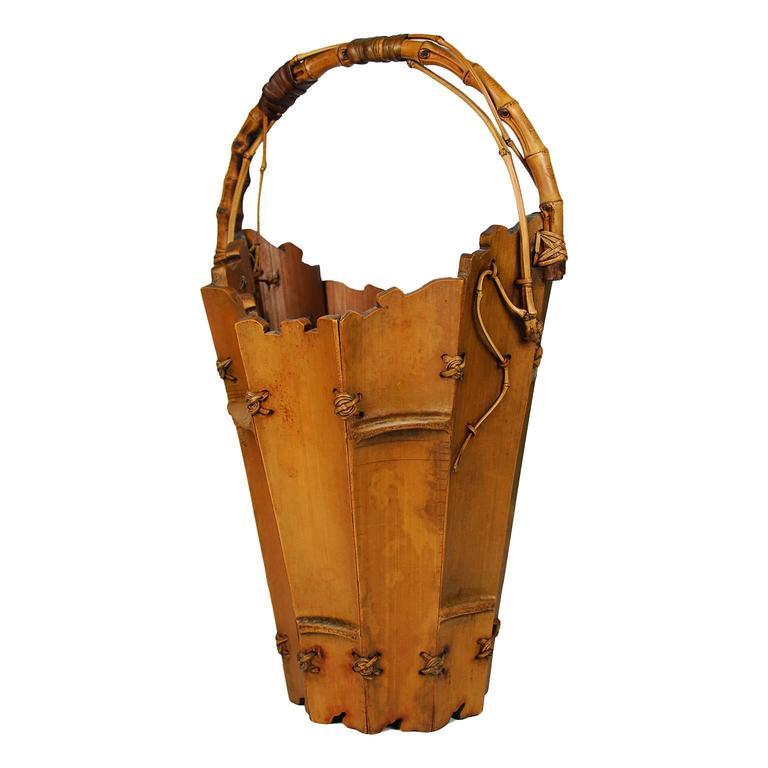 Antique Japanese Bamboo And Wood Ikebana Basket Meiji Period 19th