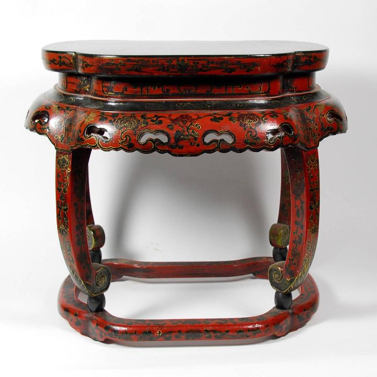 Antique pair of chinese red and black lacquer side tables for Antique chinese tables for sale