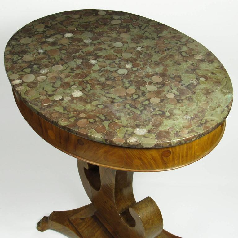 Antique Inlaid Marble Table : Antique th century biedermeier inlaid walnut marble top