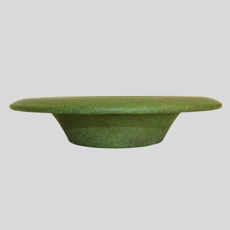 American Arts & Crafts Matt Green Glazed Ceramic Shallow Bowl For Sale 1