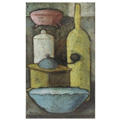 Modernist Painted Still Life on Ceramic