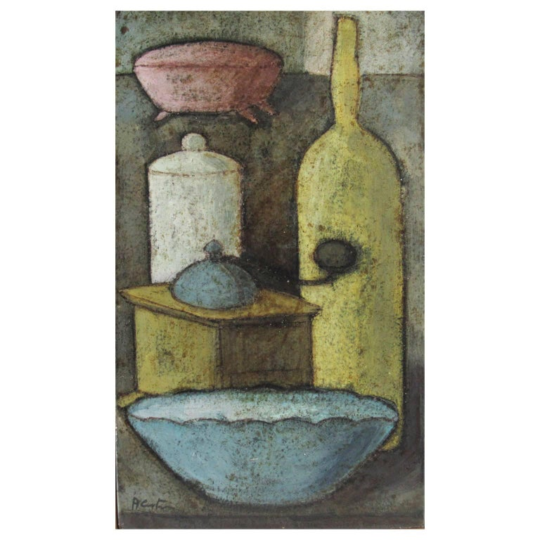 Modernist Painted Still Life on Ceramic