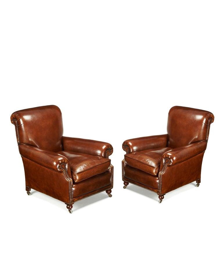 19th Century Fine Pair of Victorian Antique Leather Club Chairs For Sale - Fine Pair Of Victorian Antique Leather Club Chairs At 1stdibs