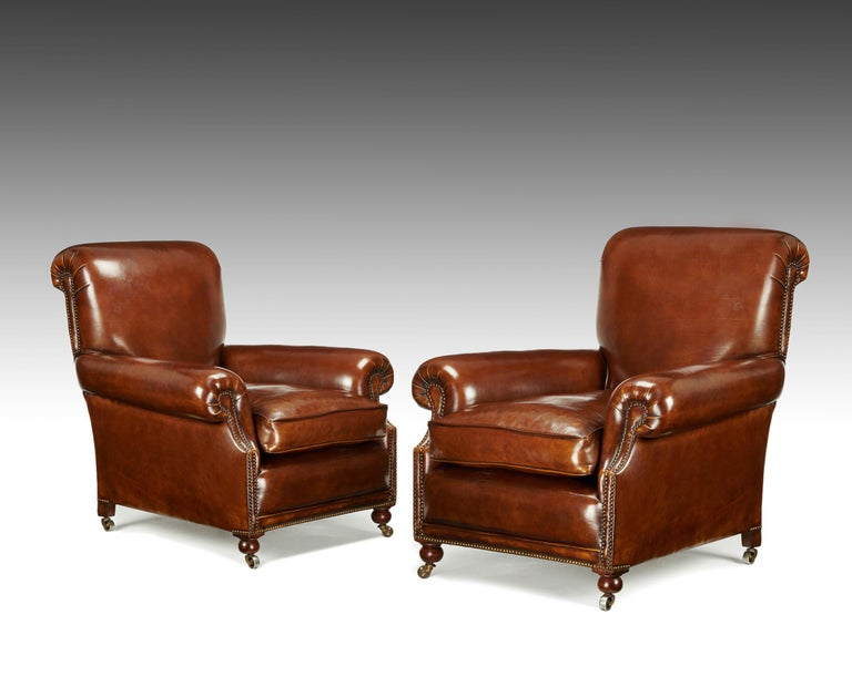 Fine Pair of Victorian Antique Leather Club Chairs For Sale 3 - Fine Pair Of Victorian Antique Leather Club Chairs At 1stdibs