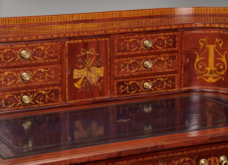Maple & Co Mahogany, Satinwood and Marquetry Inlaid Victorian Carlton House Desk For Sale 3