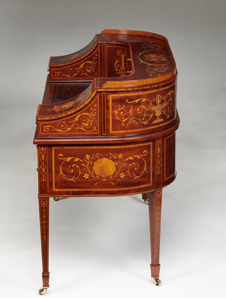 Maple & Co Mahogany, Satinwood and Marquetry Inlaid Victorian Carlton House Desk For Sale 8