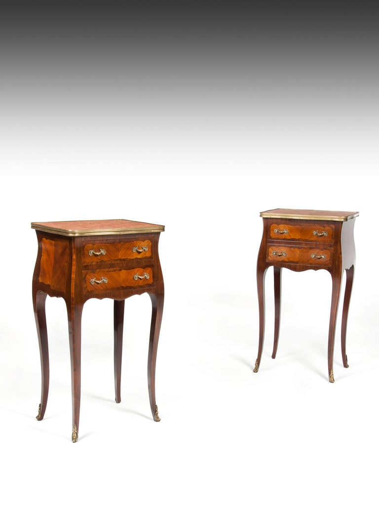 Louis XV Elegant Pair of Antique French Marble-Top Bedside Cabinets For Sale