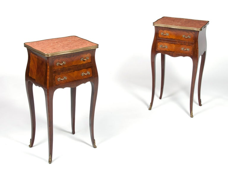 20th Century Elegant Pair of Antique French Marble-Top Bedside Cabinets For Sale