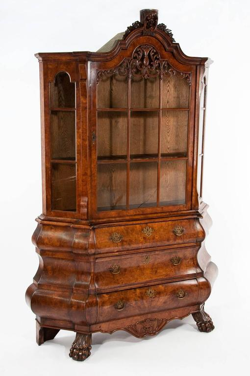 Antique Dutch Burr Elm Bombay Display Cabinet at 1stdibs