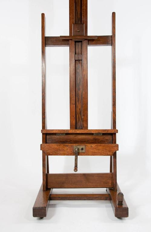 19th Century Large Victorian Oak Easel Winsor and Newton