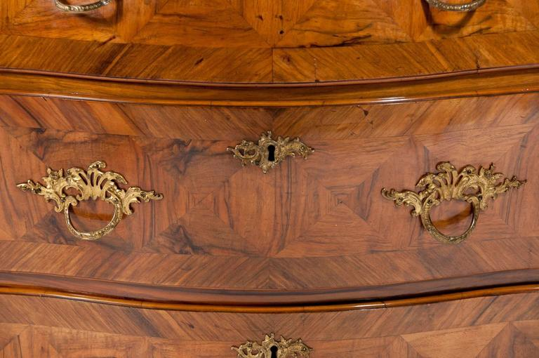 19th Century Antique 19th C Swedish Bombe Walnut Chest of Drawers