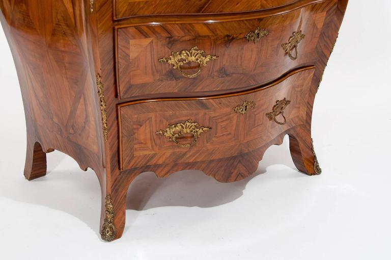 Parquetry Antique 19th C Swedish Bombe Walnut Chest of Drawers