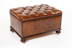 Antique Leather Upholstered Box Ottoman