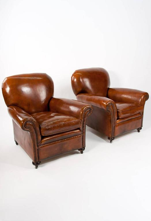 Quality Pair of Antique Leather Club Armchairs at 1stdibs