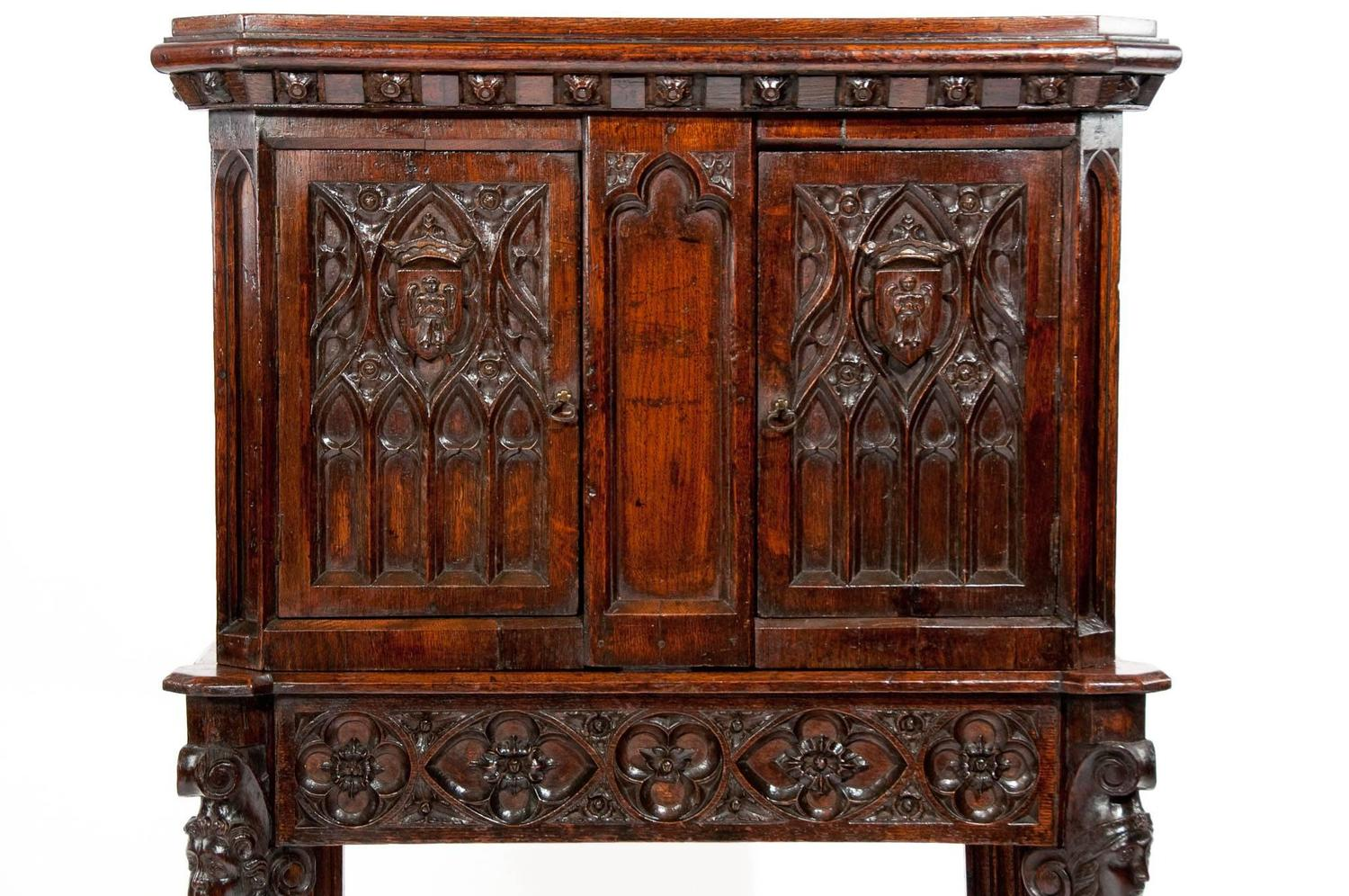 Unusual Oak 19th Century Gothic Cabinet On Stand At 1stdibs