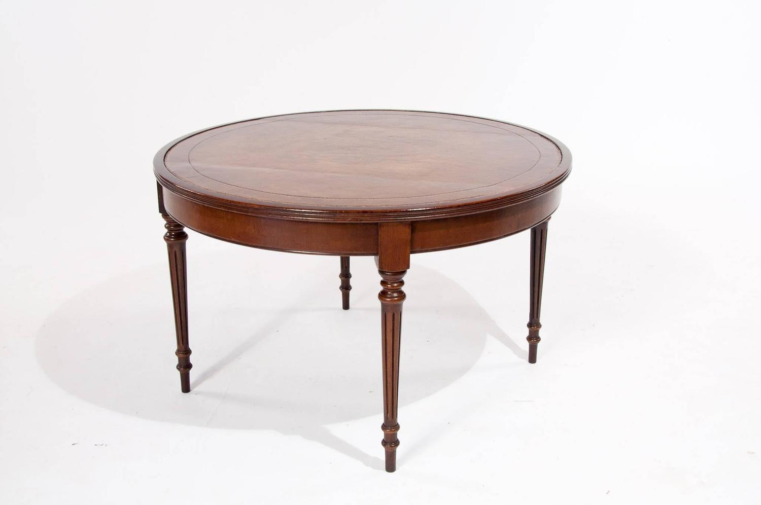 Mahogany leather topped circular coffee table at 1stdibs Coffee table with leather top