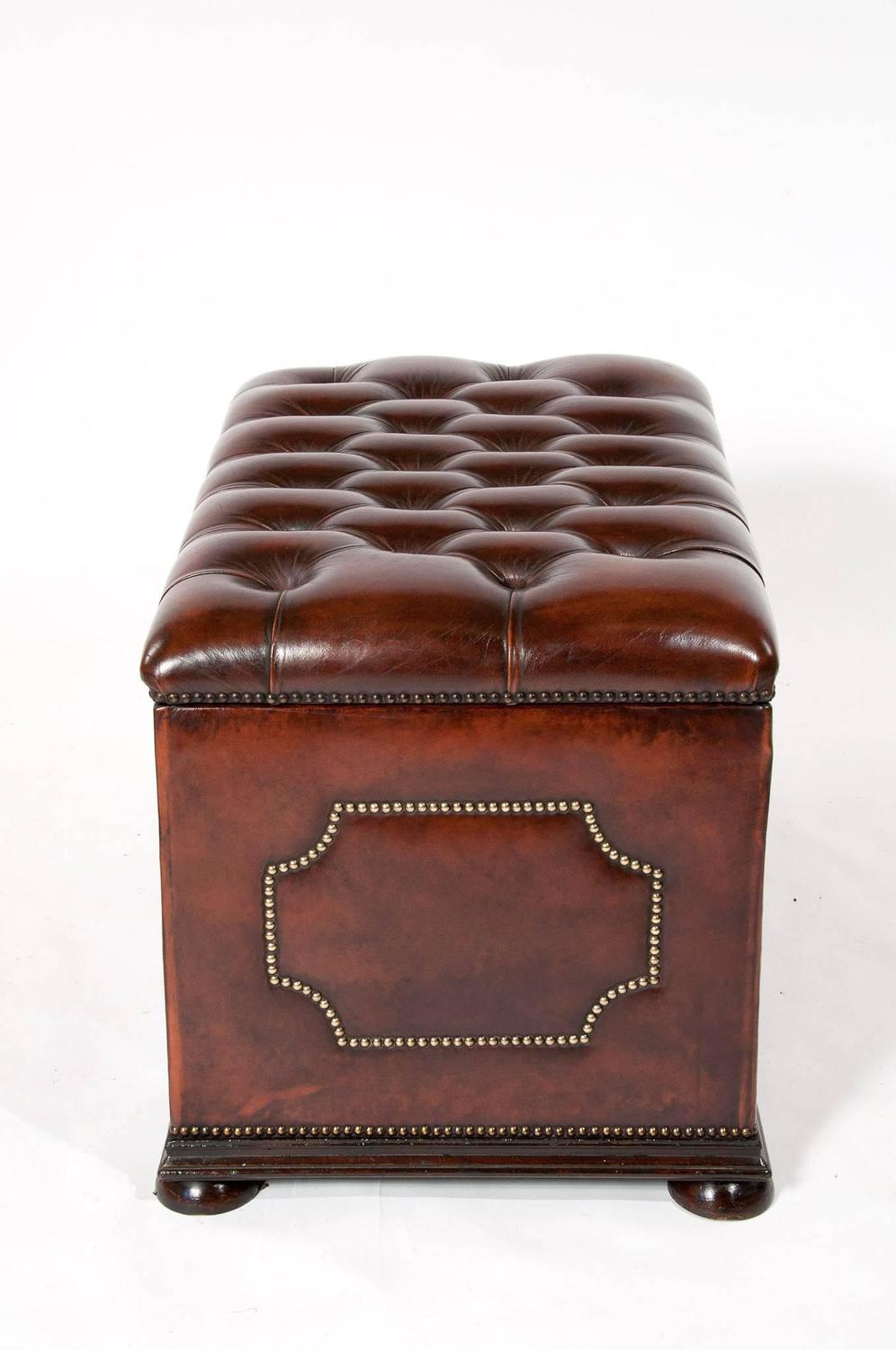 Antique Leather Upholstered Ottoman For Sale At 1stdibs