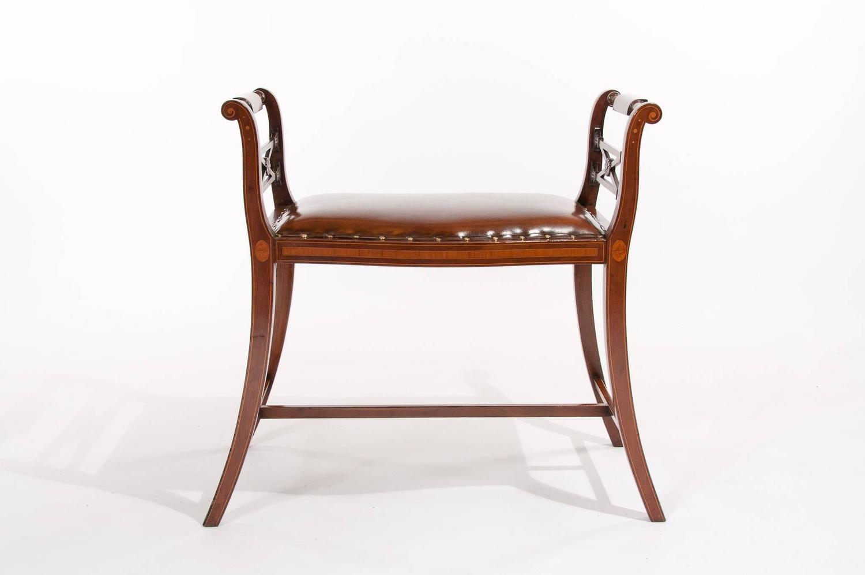 Elegant Edwardian Inlaid Leather Upholstered Window Seat