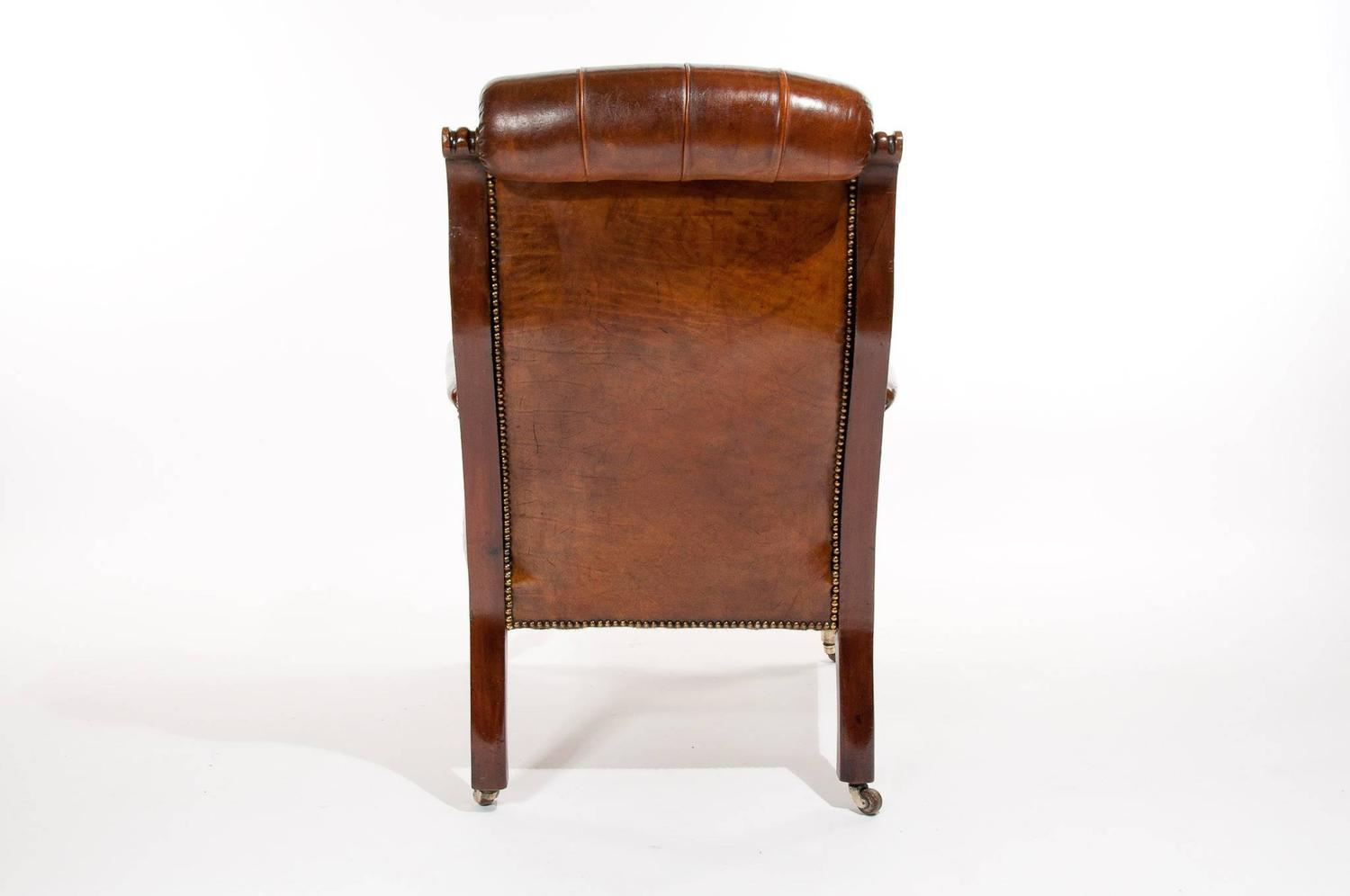 Quality Victorian Mahogany Leather Armchair For Sale At