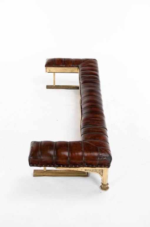 Quality Victorian Leather Upholstered Fender For Sale 2