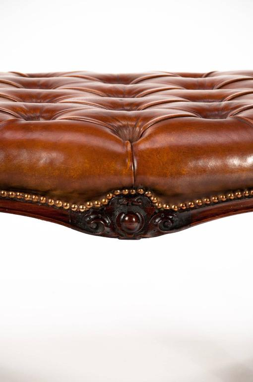 Large Early Victorian Rosewood Leather Stool For Sale At