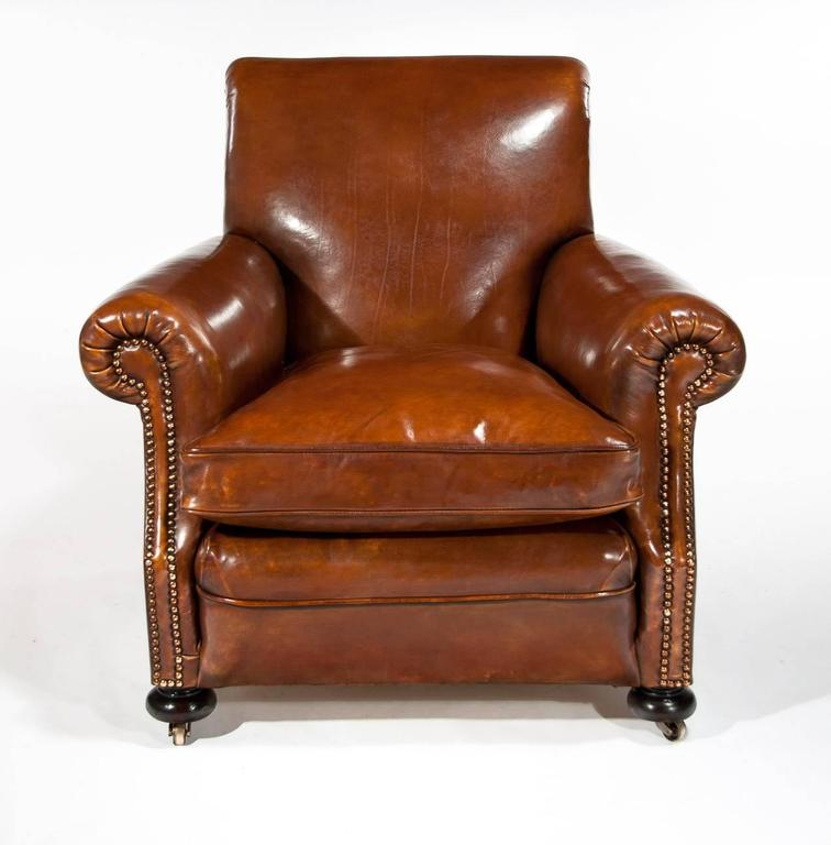 Fine Pair of Antique Leather Club Armchairs at 1stdibs