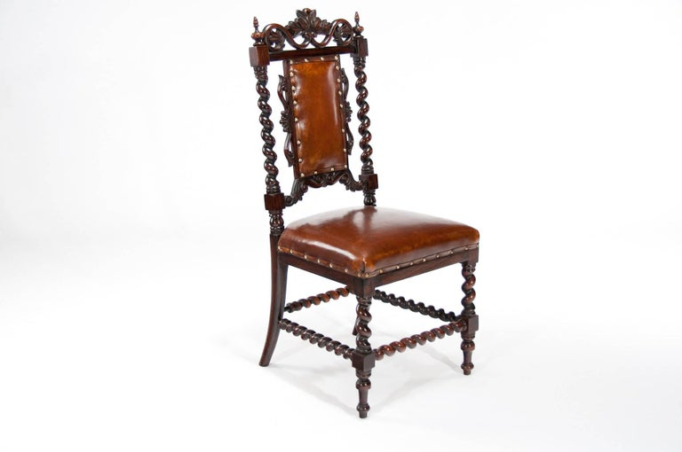 Great Britain (UK) Good Quality Victorian Rosewood Leather Side Chair For Sale