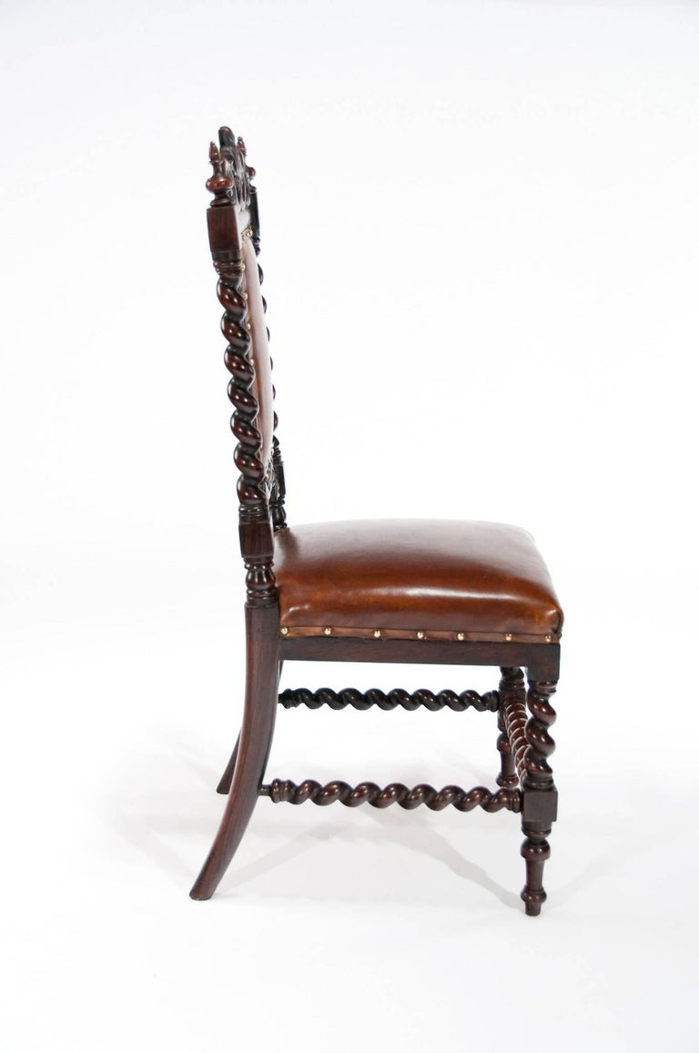 Good Quality Victorian Rosewood Leather Side Chair For Sale 3