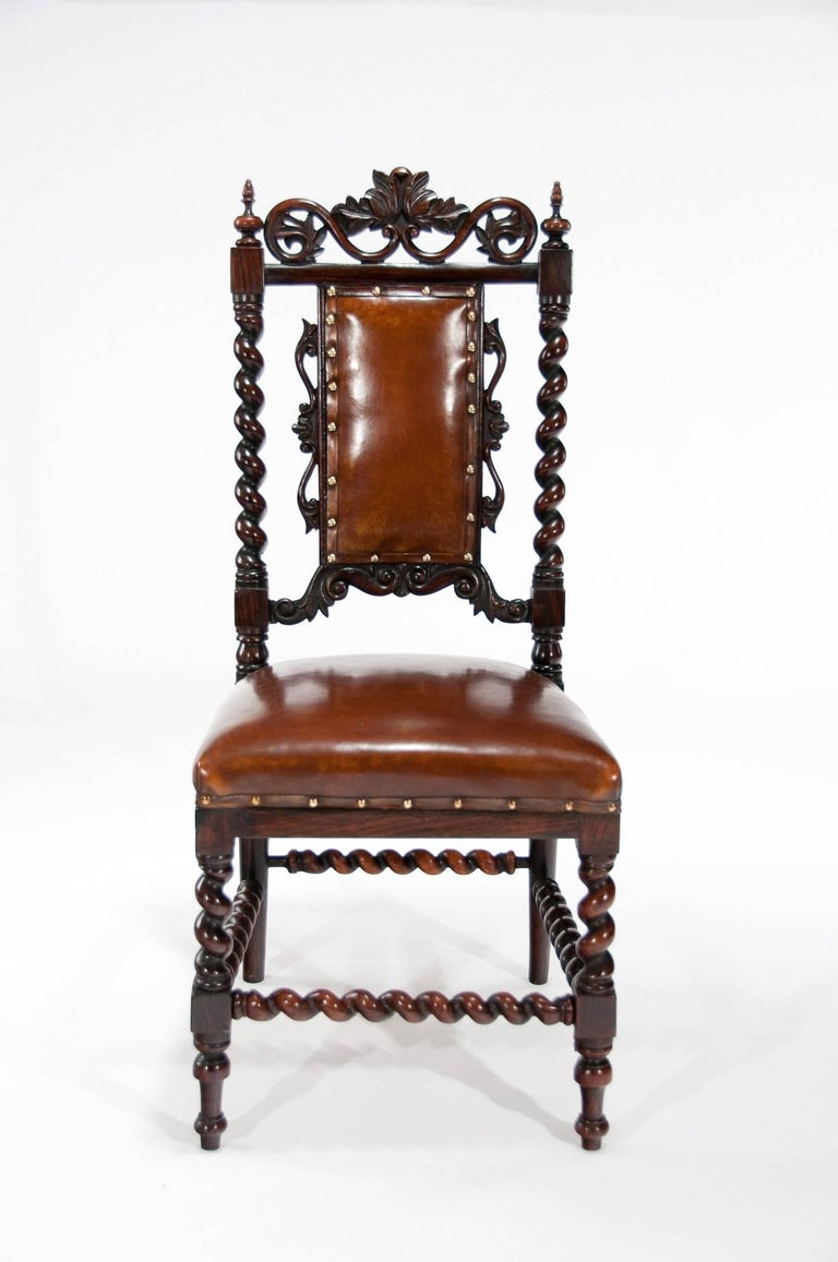 19th Century Good Quality Victorian Rosewood Leather Side Chair For Sale