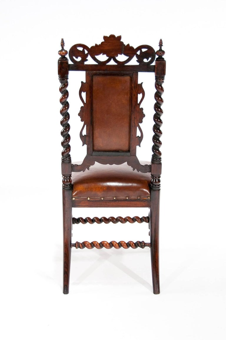 Good Quality Victorian Rosewood Leather Side Chair For Sale 4